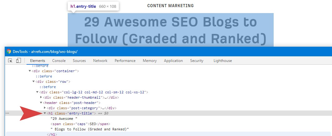 Awesome SEO H1 Example